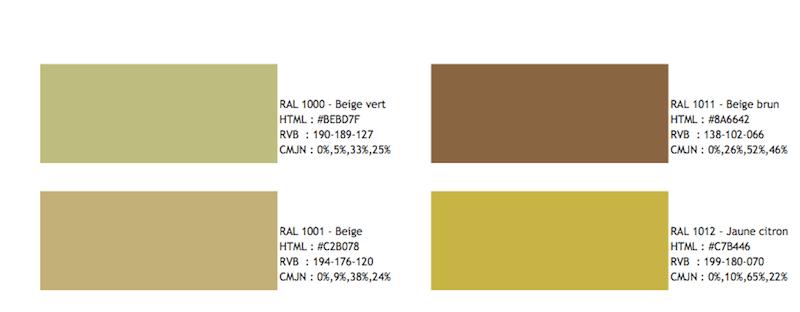 nom des couleurs et code de nuancier ral codes htmlrvb et cmjn pourcentage de cyan magenta jaune et noir prix 9 seulement au lieu de 24 - Coloris Ral